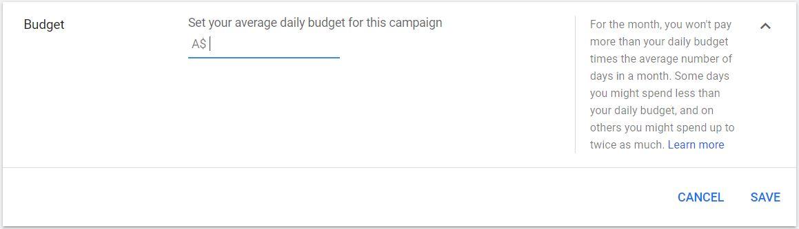 Google Ads Budget
