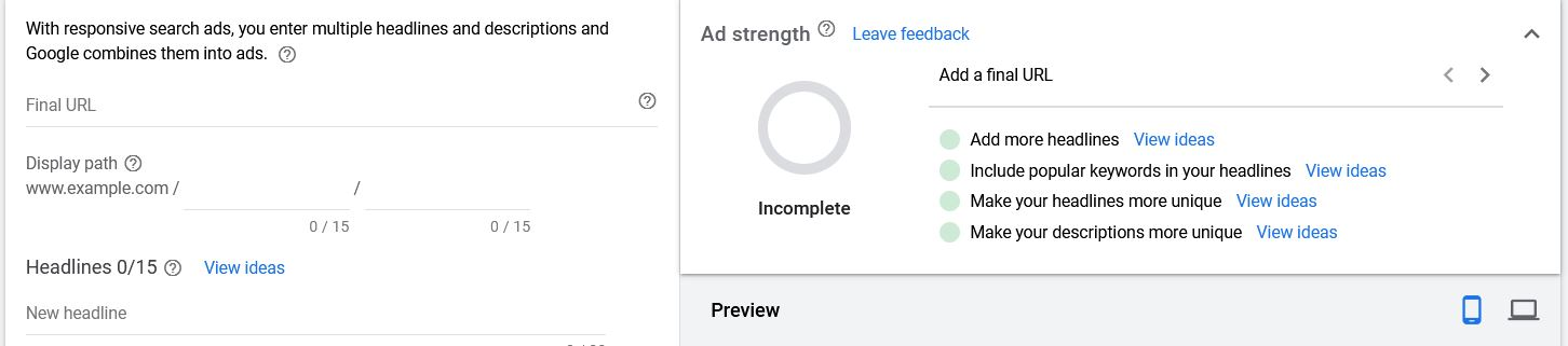 Google Ads Display Path and Final URL