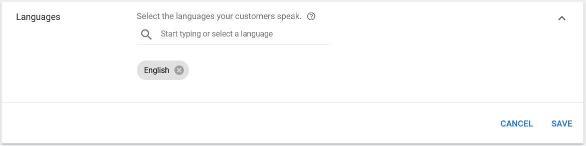 Google Ads Languages
