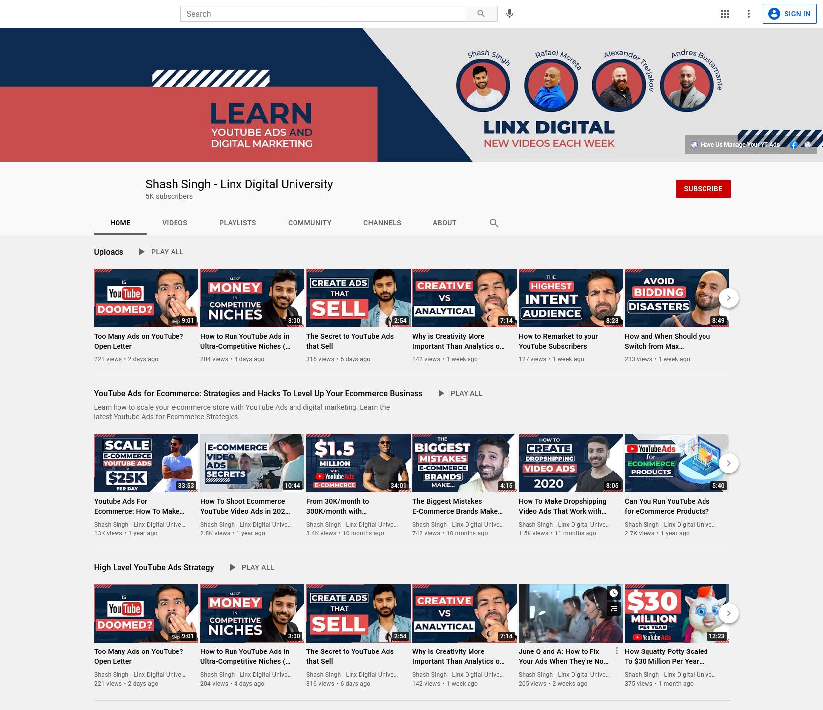 Linx Digital YouTube Channel