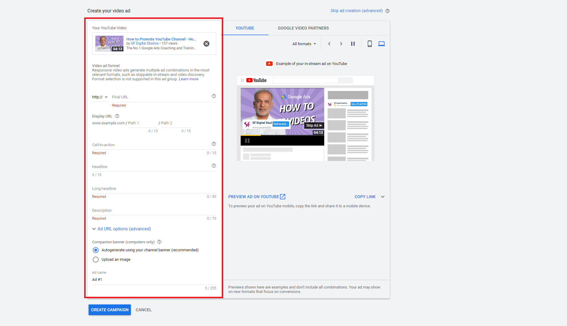 YouTube Campaign Google Ads